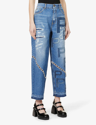 Pinko x Patrick McDowell high-rise boyfriend distressed jeans