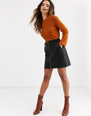 Vero Moda faux leather skirt with zip detail-Black