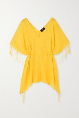 SU PARIS Kya Fringed Striped Cotton-gauze Kaftan - Yellow