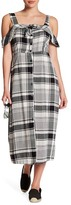 Lush Plaid Cold Shoulder Dress