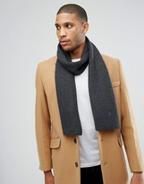 Polo Ralph Lauren Player Ribbed Scarf Merino Wool In Charcoal