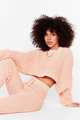 Nasty Gal Womens Knit's Down to You Jumper and Jogger Set - Orange - L, Orange