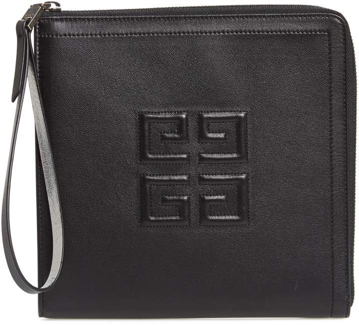 Givenchy Emblem Square Lambskin Leather Clutch
