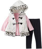 Little Lass Baby Girl 3-pc. Heart Tee, Puffer Vest & Leggings Set