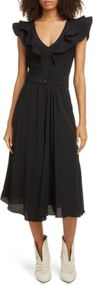 Etoile Isabel Marant Coraline Ruffle Trim Midi Dress