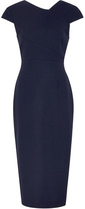 Roland Mouret Ayers navy wool midi dress