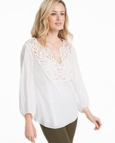 White House Black Market Laser-Cut Cotton-Blend Blouse