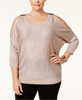 INC International Concepts Plus Size Cold-Shoulder Metallic Sweater, Only at Macy's