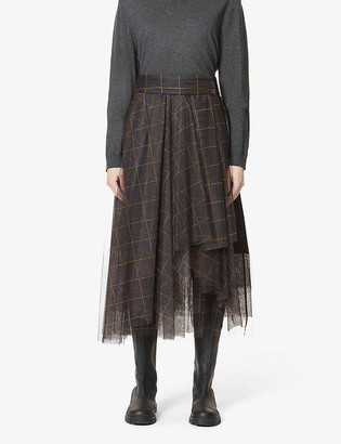Brunello Cucinelli Checked semi-sheer high-waist tulle midi skirt