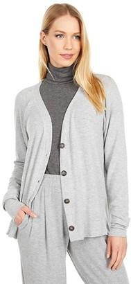 Michael Stars Madison Brushed Jersey Ayla V-Neck Cardigan (Heather Grey) Women's Clothing