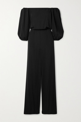 Theory Off-the-shoulder Silk-crepe Jumpsuit - Black