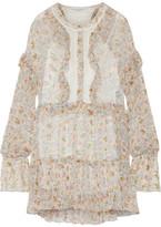Philosophy di Lorenzo Serafini - Lace-paneled Floral-print Georgette Mini Dress - Cream