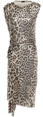 Paco Rabanne Ruched Metallic Leopard-print Chainmail Dress