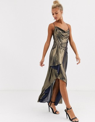 Forever New metallic cowl neck midi dress in gold