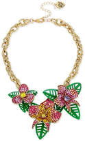 Betsey Johnson Gold-Tone Multi-Stone Flower and Leaf Statement Necklace