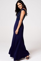 Little Mistress Meleri Navy Floral Embroidery Off-The-Shoulder Maxi Dress