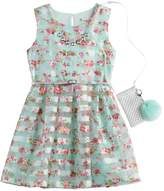 Knitworks Girls 7-16 & Plus Size Floral Burnout Striped Dress with Necklace & Purse