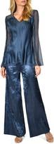 Komarov Two-Piece Charmeuse & Chiffon Tiered Long Sleeve Tunic & Pants Set
