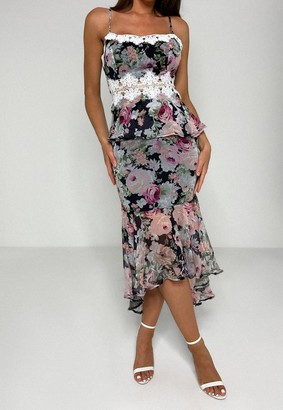Missguided Black Floral Print Lace Insert Midi Dress