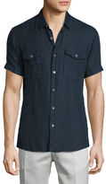 Theory Short-Sleeve Linen Shirt, Fading