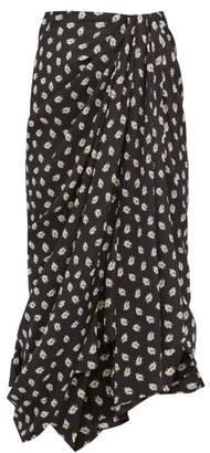 Isabel Marant Candice Draped Floral-print Silk Midi Skirt - Womens - Black Print