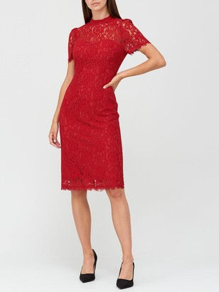 Very High Neck Lace Pencil Dress - Deep Red