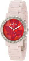 Invicta Women's Ceramics White Diamond Dial Pink Ceramic