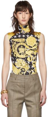 Versace Black and Yellow Savage Barocco Bodysuit