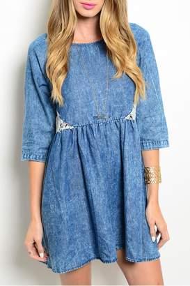 En Creme Denim Crochet Dress