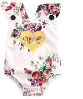 ONE'S New Baby Girls Summer Flower One First Birthday Bodysuit Romper Outfits (18-24 Months, )