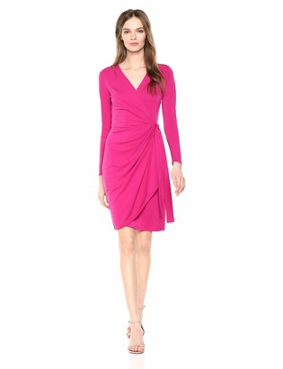Lark & Ro Classic Long Sleeve Wrap Dress Cerise Pink US L (EU L - XL)