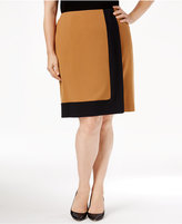 Nine West Plus Size Crepe Framed A-Line Skirt