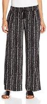 Rafaella Women's Petite Textured Stripe Print Wide Leg Pant