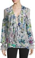 Roberto Cavalli Lace-Inset Floral-Print Blouse, White/Multi