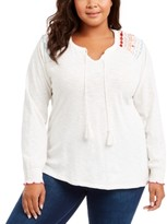 Style&Co. Style & Co Plus Size Embroidered Cotton Tie-Neck Top, Created For Macy's