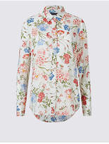 M&S Collection Pure Modal Floral Print Long Sleeve Shirt