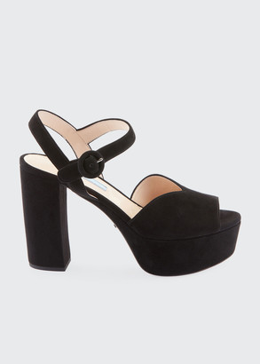 Prada Suede Platform 105mm Sandals
