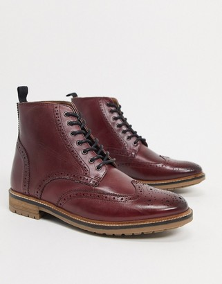 Silver Street lace up brogue boots in oxblood leather
