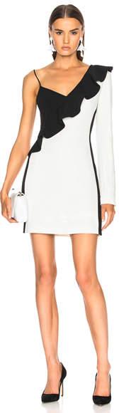 David Koma One Sleeve Diagonal Mini Ruffle Dress