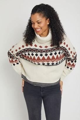 RD Style Nordic Print Turtleneck Sweater
