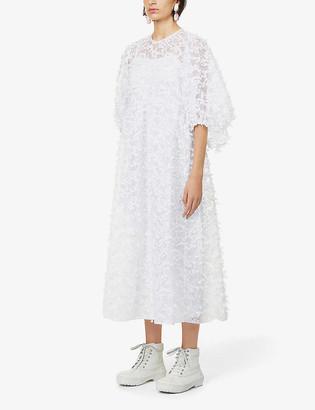 Cecilie Bahnsen Karmen floral-applique woven midi dress