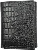 Unico Corp. Men's Black Croc-embossed Leather Tri-fold Wallet