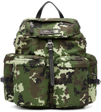 Miu Miu Green Camo Leather and Cordura Backpack