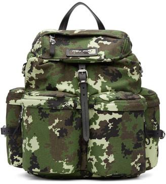 Miu Miu Green Camo Leather and Cordura Backpack