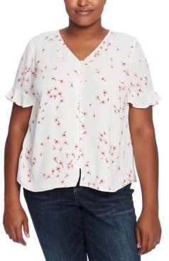 CeCe Plus Size Printed Ruffled-Sleeve Blouse