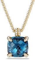 David Yurman Ch'telaine Pendant Necklace with Hampton Blue Topaz and Diamonds in 18K Gold