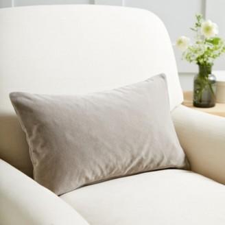 The White Company Scatter Cushion Velvet, Stone Velvet, Medium Square