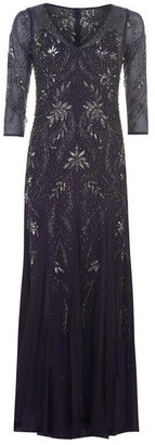 Adrianna Papell Long Floral Beaded Dress