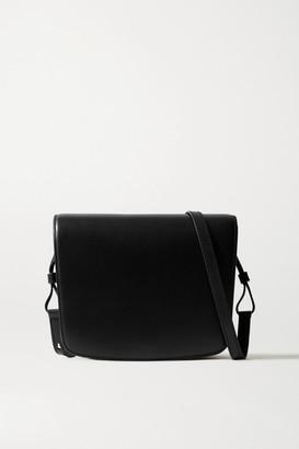 The Row Julien Large Leather Shoulder Bag - Black