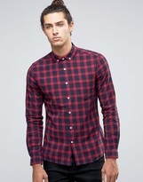 Asos Long Sleeve Skinny Shirt With Grid Check In Burgundy
